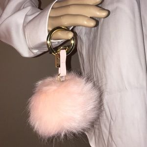 Victoria Secret light pink puff ball key chain NWT